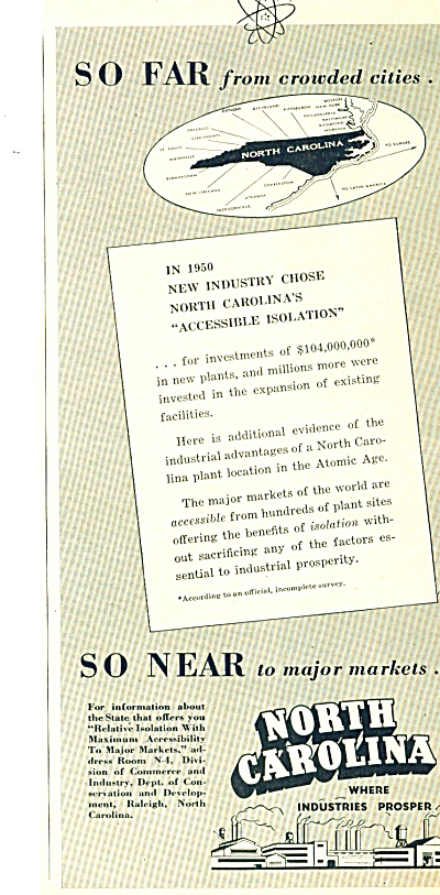 North Carolina state ad   1951 (Image1)
