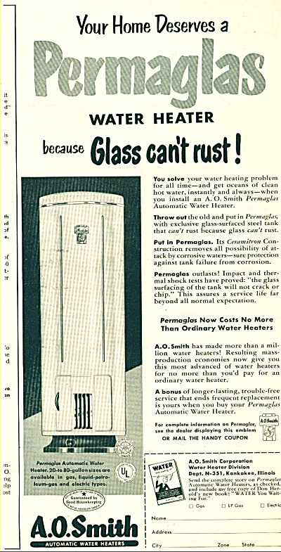 .1951 A.O. Smith automatic water heaters  AD (Image1)