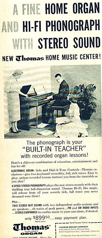 Thomas electronic organ Co.  ad (Image1)