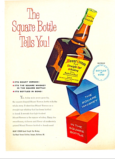 1951 Mount Vernon WHISKEY AD Square Bottle TE (Image1)