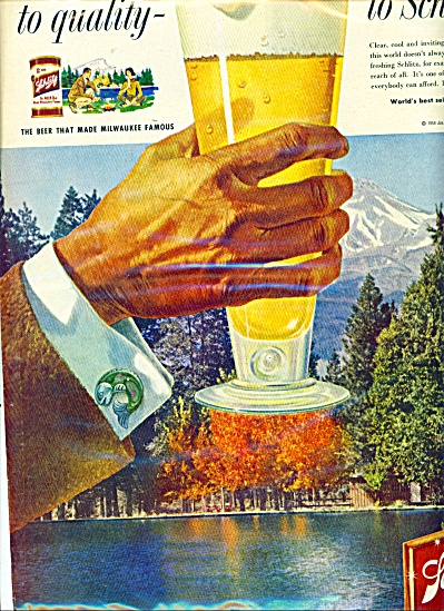 1958 Schlitz Beer Move On Up Ad Hand