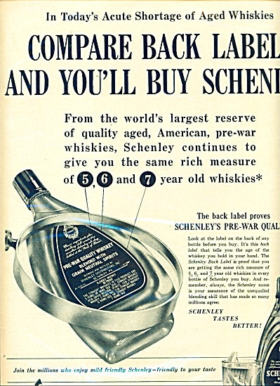 1949 Schenley reserve whiskey AD SHORTAGE (Image1)