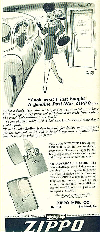 1946 ZIPPO Lighter AD MICHAEL BERRY ART (Image1)