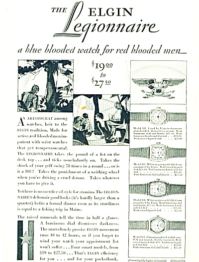 1928 Elgin Watch Ad Artwork In Print