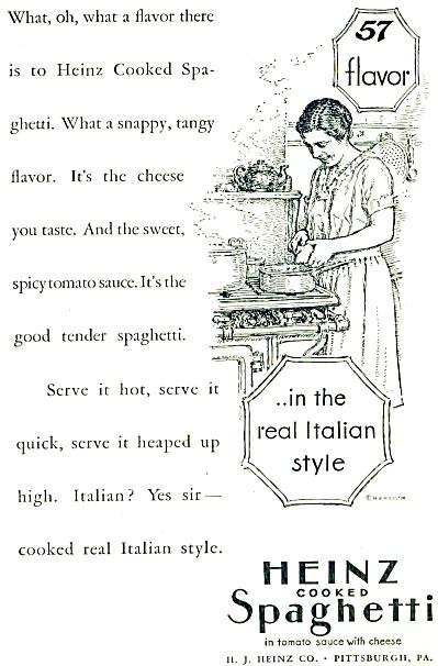1928 Heinz 57 Spaghetti Vintage Artwork AD (Image1)