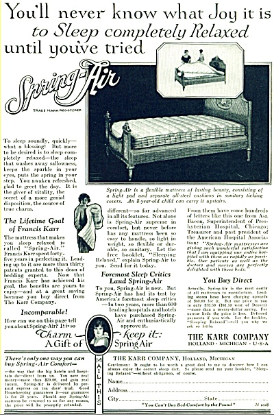 Spring Air mattress ad - 1928 (Image1)