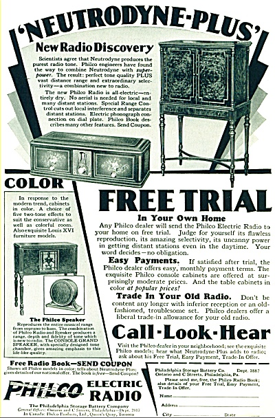 Philco Electric Radio Ad- 1928