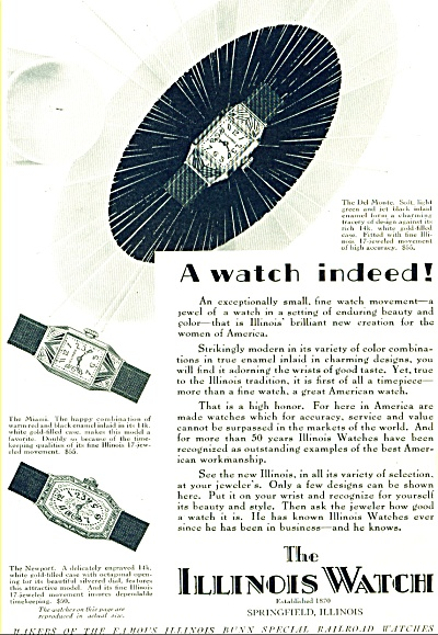 1928 ILLINOIS Watch Co AD DelMonte Newport + (Image1)