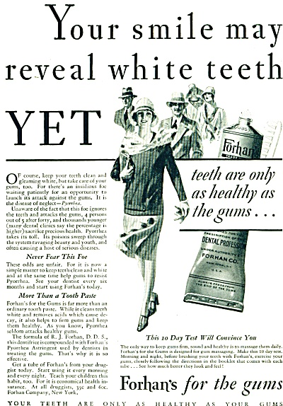 1928 Forhan's Tooth Paste for GUMS AD ART (Image1)