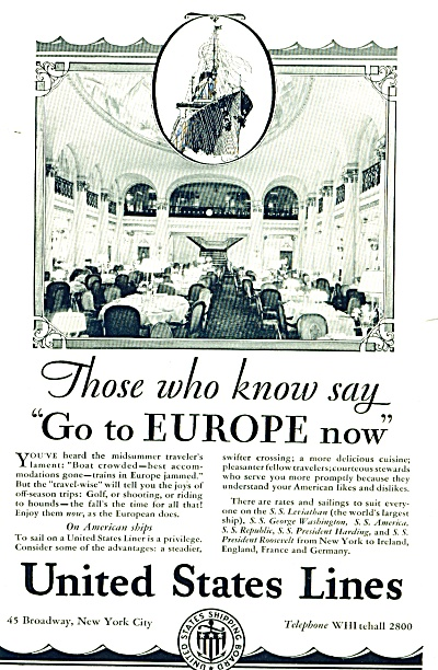 1928 United States Lines Ship Ad Dining Photo
