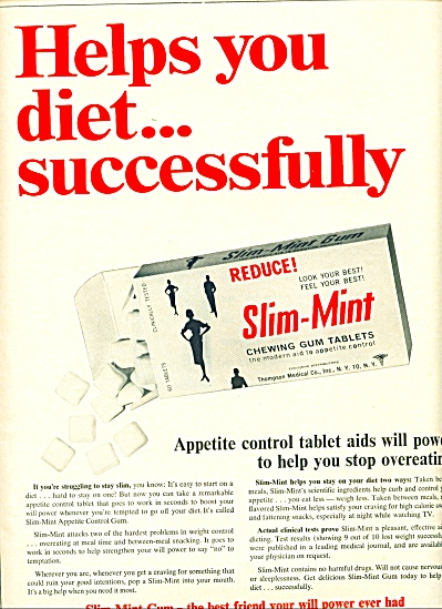 Slim-Mint chewing gum tablets -  1965 (Image1)