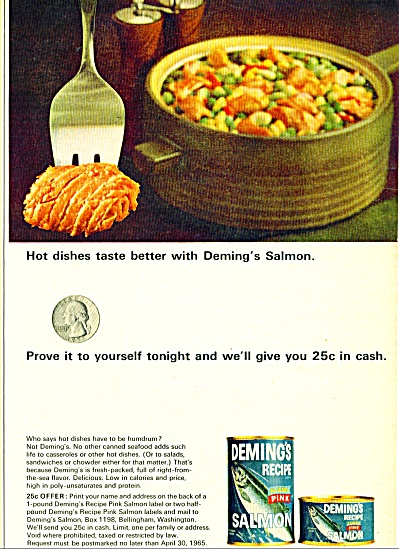 Deming's recipe Salmon ad    1965 (Image1)