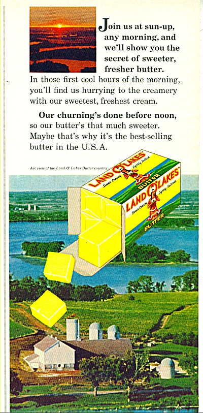 1965 Land O Lakes Butter Ad Air Country View