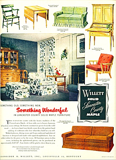 1952 WILLETT Furniture Co. AD SOLID MAPLE Vin (Image1)