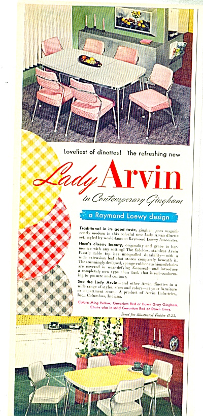 1952 Lady Arvin DINETTE Gingham Table - Chair (Image1)