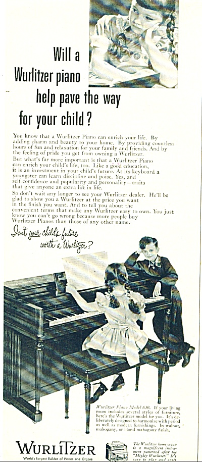 1952 WURLITZER PIANO AD Model 630 Kids Playin (Image1)