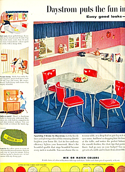 1952 DAYSTROM VINTAGE Kitchen FURNITURE AD Ta (Image1)