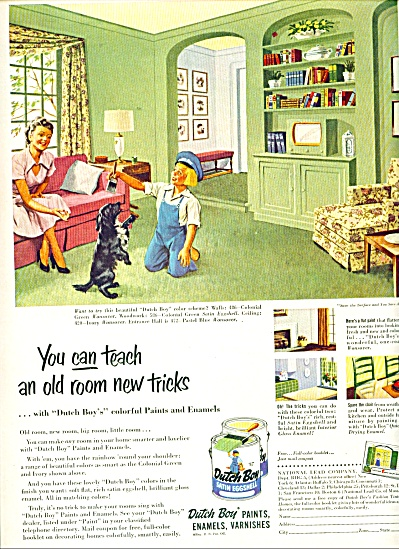 1952 DUTCH BOY PAINT AD Playing w/ DOG SCHEME #2 (Image1)