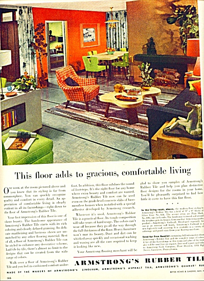 Armstrong's Rubber tile ad  1952 RETRO DESIGN (Image1)
