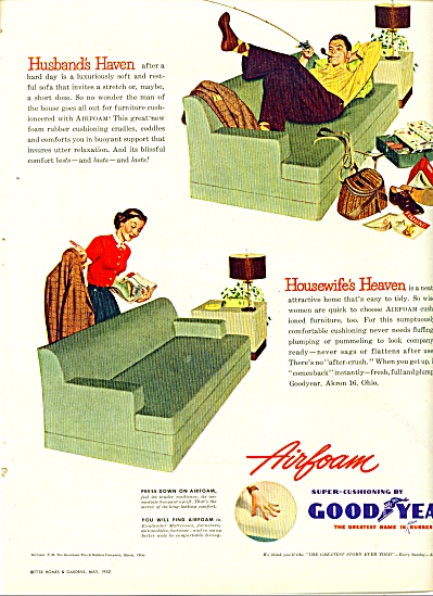 1952 Goodyear Airfoam HUSBAND'S HAVEN AD FISH (Image1)