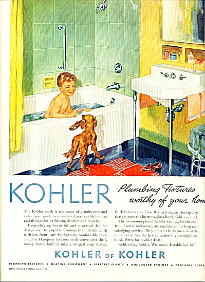 1952 Kohler Bathing Boy - Dog Bathtub Ad #2 (Image1)