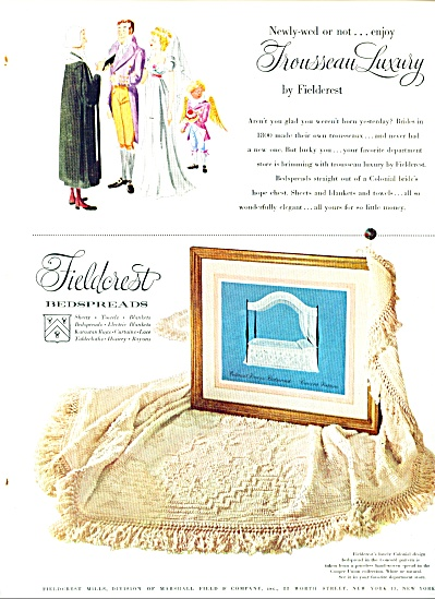 1952 Fieldcrest Colonial Concord Bedspread Ad
