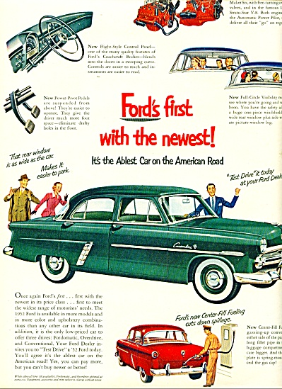 1952 FORD Customline ABLEST CAR Green Sedan A (Image1)