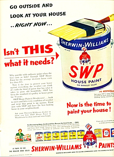 Sherwin-Williams Paints ad - 1952 #2 (Image1)
