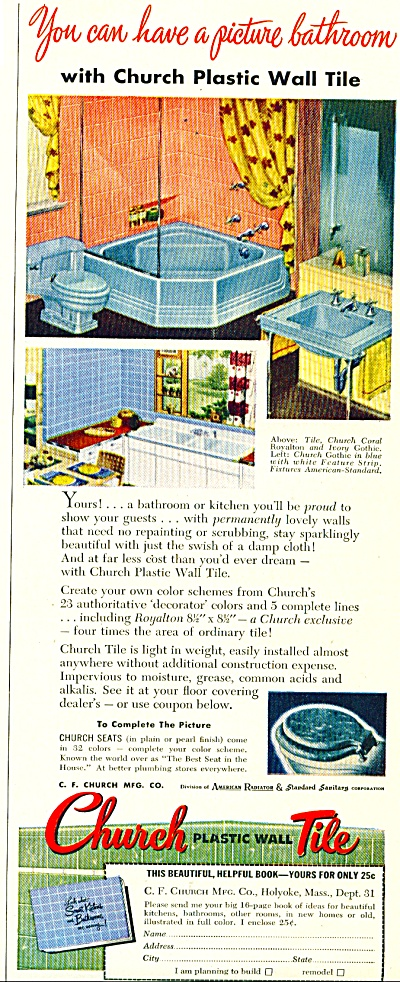 Church Plastic wall tile ad -  1952 (Image1)