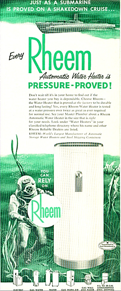 1952 Rheem DEEP SEA DIVER Submarine Heater AD (Image1)