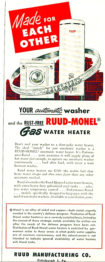 Rudd gas water heater  ad    1952 (Image1)