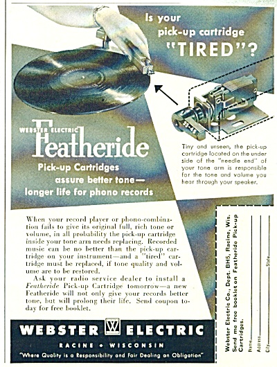 Webster Electric Ad - 1952