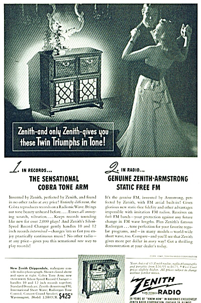 1948 Zenith Radio Chippendale Original AD (Image1)