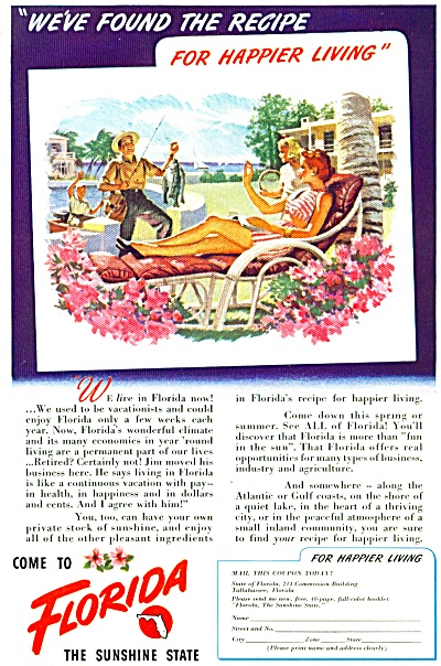 Florida the sunshine state ad -  1948 (Image1)