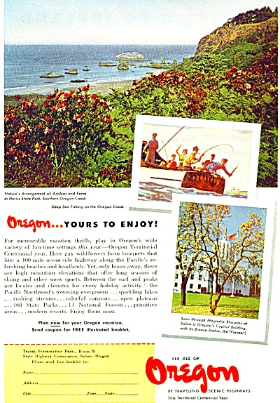 1948 OREGON Travel AD Harris State Park (Image1)