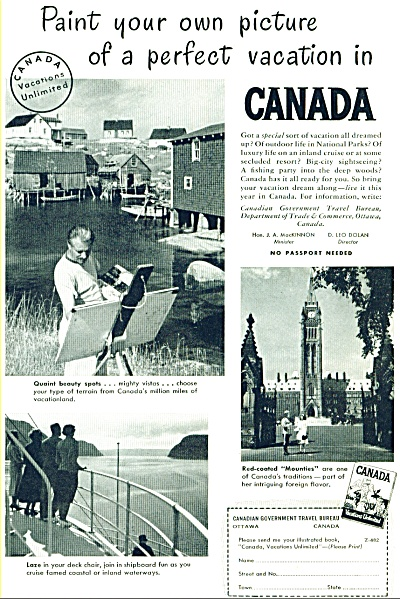 Vacation in Canada ad -  1948 (Image1)