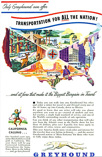1948 GREYHOUND BUS Travel AD CALIFORNIA CALLS (Image1)