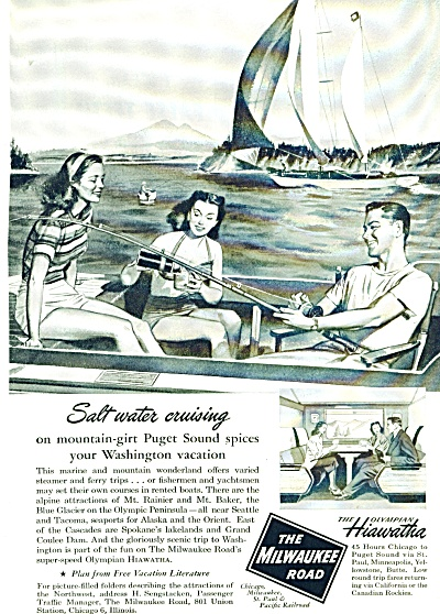 1948 The Milwaukee Road AD SALT WATER SAILING (Image1)