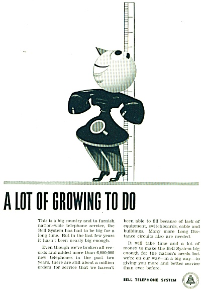 1948 Bell Telephone AD Vintage Phone Growing (Image1)