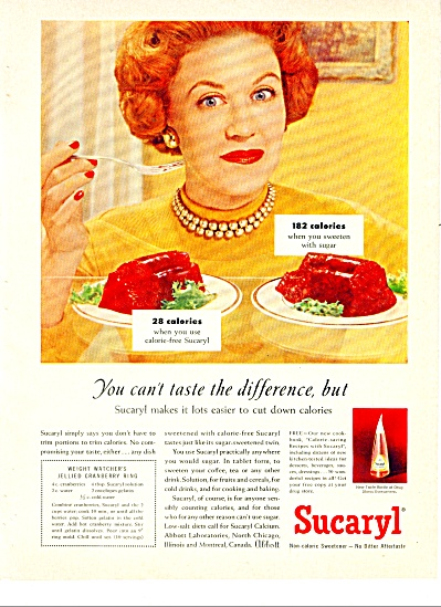 Sucaryl non caloric sweetener ad   1958 (Image1)