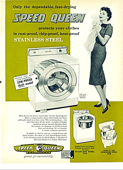 1958 Speed QUEEN DRYER AD Stainless LADY TOWE (Image1)