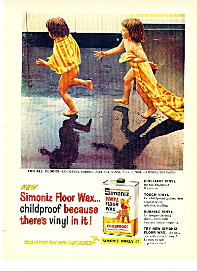 1958 SIMONEZ TWO Nude Girls RUNNING FLOOR AD (Image1)