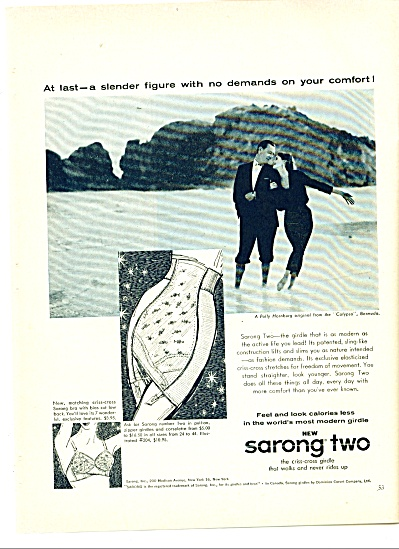 1958 Sarong Two Girdle Ad Polly Holnburg