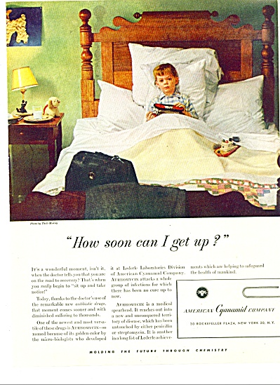 1949 LEDERLE LABS Thili Muray SICK BOY IN BED (Image1)