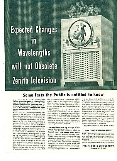 1949 Zenith TV Television AD Wavelength Chang (Image1)