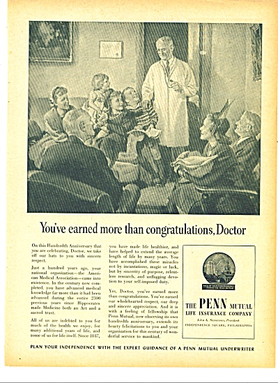 1947 PENN MUTUAL LIFE INSURANCE Doctor AMA AD (Image1)