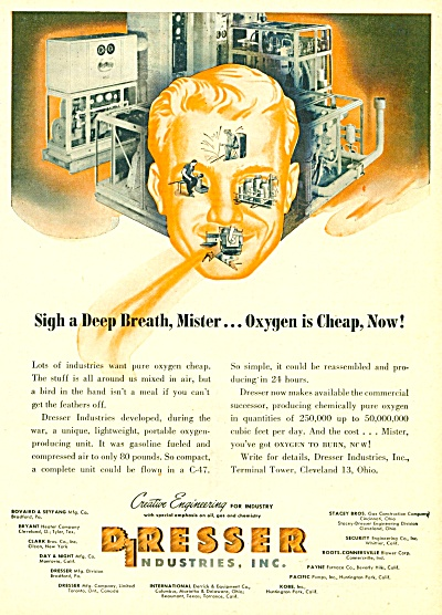 1947 Dresser Industries Oxygen Medical Equip