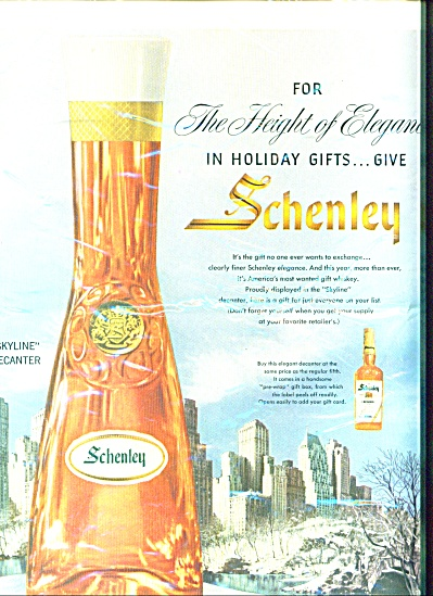 1956 Schenley Whiskey Skyline Decanter Ad (Image1)