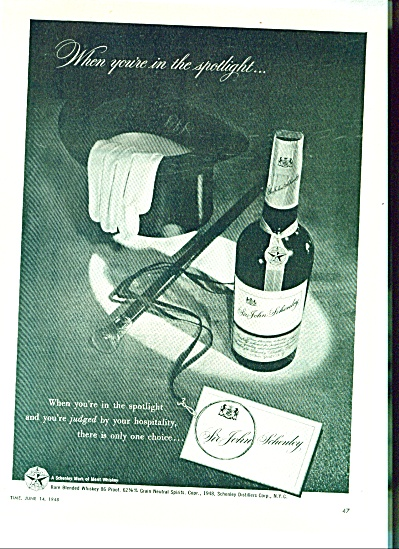 Sir John Schenley whiskey ad - 1948 TOPHAT (Image1)