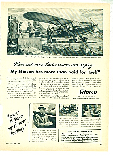 1948 STINSON AIRPLANE Flying Station Wagon AD (Image1)